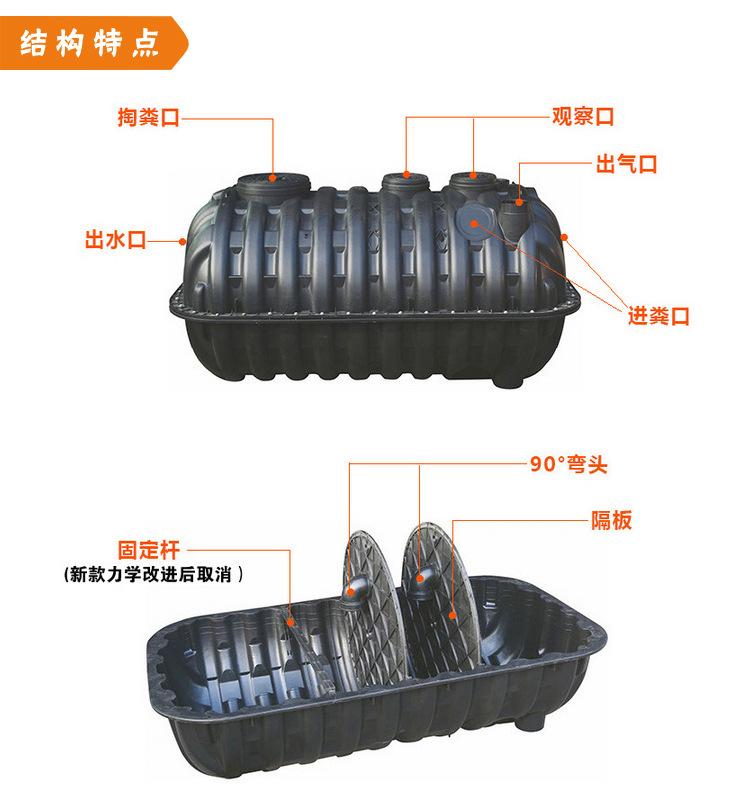 化糞池1立方 三格式 塑料 環保廁所 新農村廁所改造用化糞池示例圖9