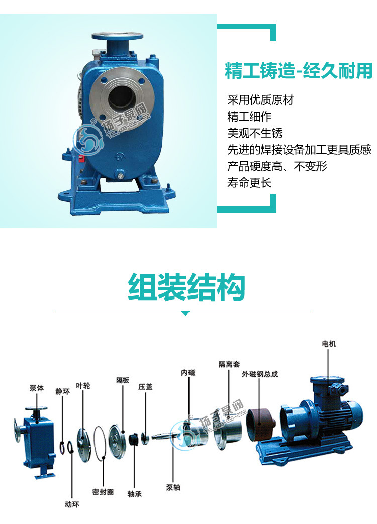 无泄漏防爆自吸泵制造商 ZCQ65-50-145自吸式不锈钢耐腐蚀磁力泵示例图8