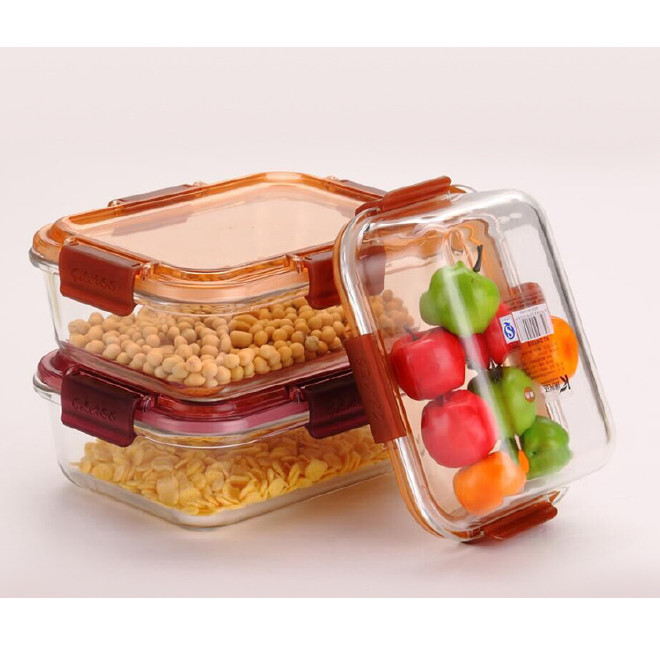 饭盒 厂家直销家用微波炉加热玻璃保温饭盒 冰箱透明加厚保鲜盒图片