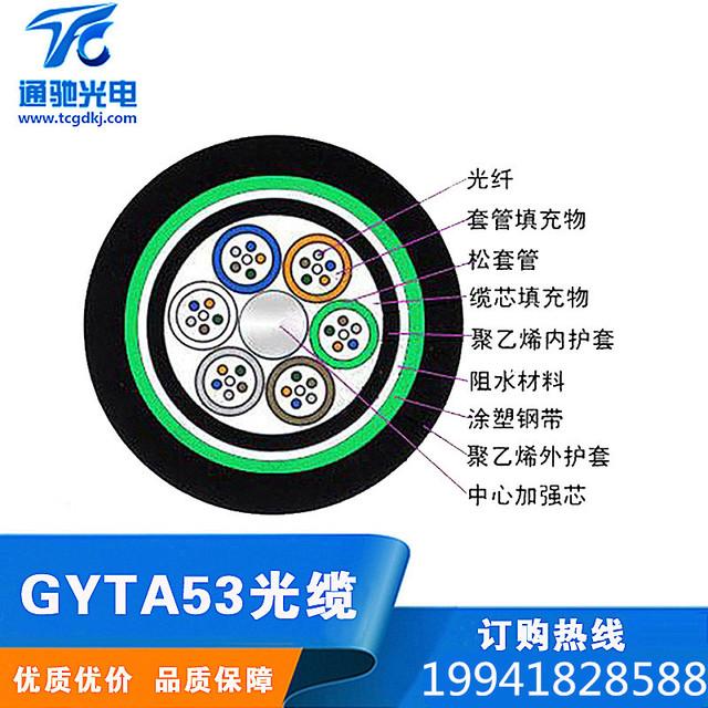 室外光缆GYTA53-12A1a层绞式双铠装双护套地埋12芯多模50/125