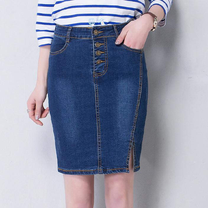 实拍亚马逊速卖通ebay爆款夏韩版高腰大码牛仔短裙包臀半身裙显瘦