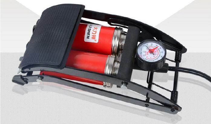 汽车脚踏打气筒_供应双管双筒脚踏便携高压打气筒汽车充气泵脚踩高压打气筒 ...