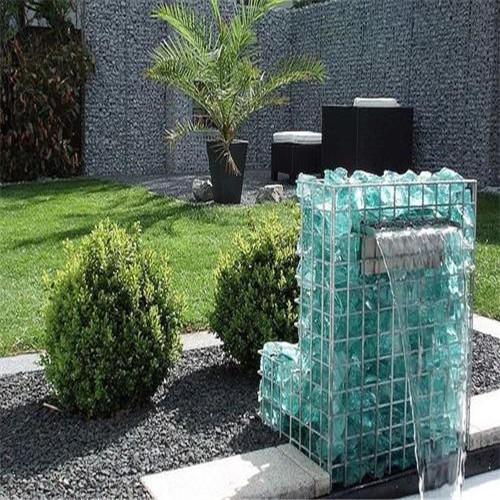 公园设计围墙石笼景墙,鹅卵石笼箱,艺术钢丝石笼,景观艺术石笼