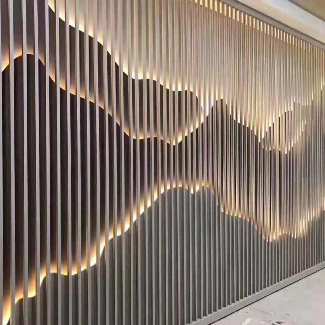 光德屏风不锈钢屏风定制钢镂空屏风创意屏风黑钛金201不锈钢方通30x30