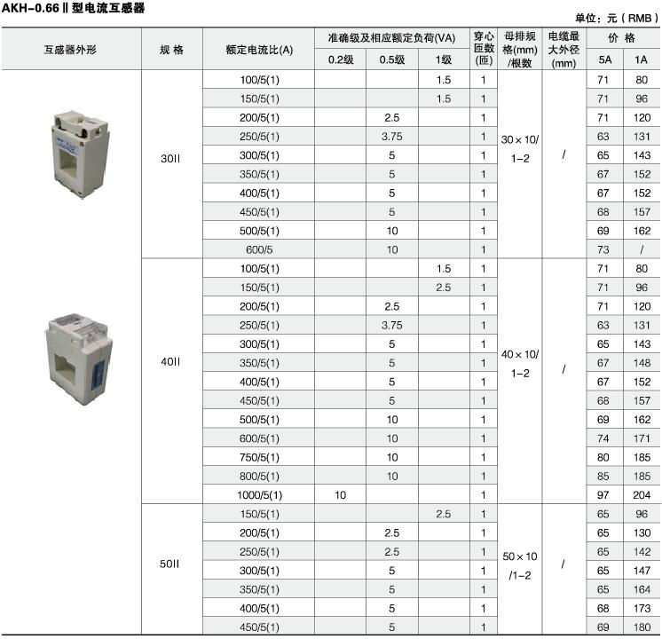 安科瑞,测量型电流互感器,AKH-0.66-30I,额定电流比100-600/示例图31
